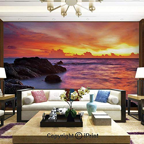 Lionpapa_mural Removable Wall Mural Ideal to Decorate Bedroom,or Office,Tropical Beach Sunset Golden Clouds Stones Calm Sea Summer Seaside Scene,Home Decor - 100x144 inches