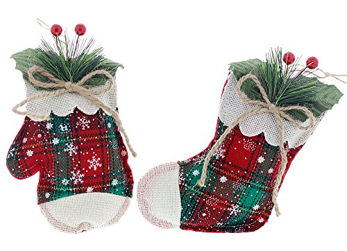 Christmas Holiday Country Style Plaid Mitten & Stocking Ornaments, Red, Green, & White, Medium, 2 Piece Set, 4