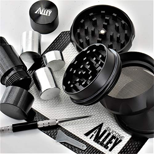 (SILICONE ALLEY Herb & Spice Processing [PREP KIT] - Grinder (1) Nonstick Mat (1) Pick Tool (1) + Pollen Press [Aluminum] (1))