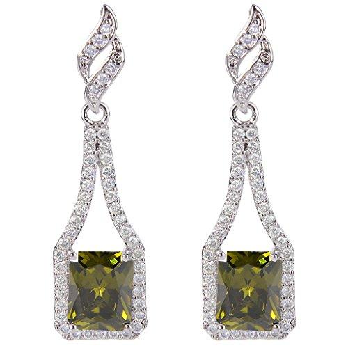 EVER FAITH Women's CZ August Birthstone Square Bridal Drop Earrings Peridot Color Silver-Tone