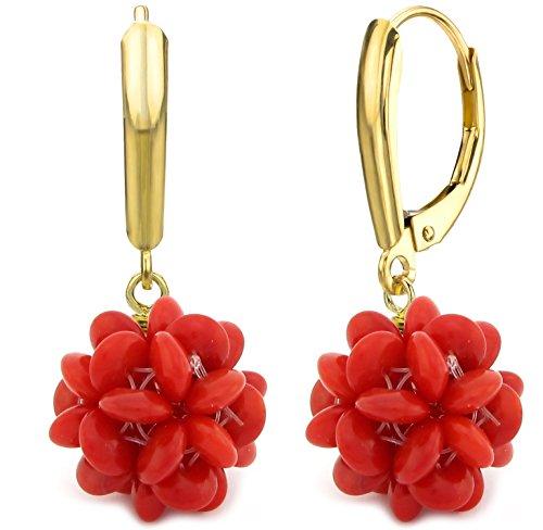 14K Or jaune 18mm design boule de corail rouge simulé pierres Swarovski Boucles d'oreilles