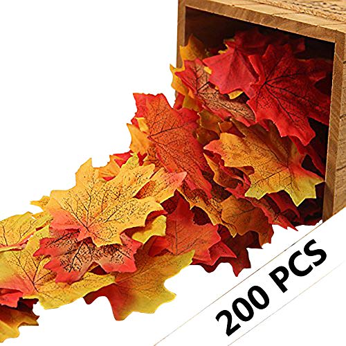 (Yarssir 200Pcs Mixed Artificial Leaves Assorted Fall Maple Leaf Multicolor Autumn Fall Leaves for Weddings,Christmas party,Events and Decorating)