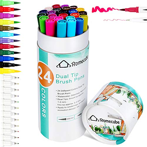 Dual Tip Art Markers Pen, Homecube 24 Colors Fineliner Brush Color Pens Set for Adult Children Coloring Books, Drawing, Painting, Writing Calligraphy