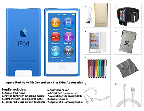 Apple iPod Nano 8th Generation, 16GB- Blue + Extra Accessories Package *LATEST MODEL Released July, 2015* (Ipod Nano 16)