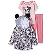 Disney Baby Girls' Minnie Mouse 3 Piece Bodysuit Or T-Shirt, Hoodie, Pant Set, Ballerina Pink, 3-6 Months