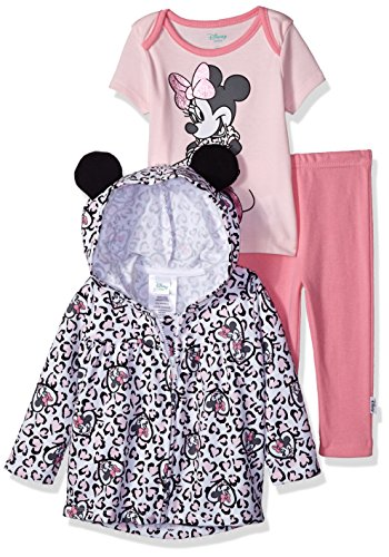 Girls Disney Ballerina - Disney Baby Girls' Minnie Mouse 3 Piece Bodysuit OR T-Shirt, Hoodie, Pant Set, Ballerina Pink, 12M
