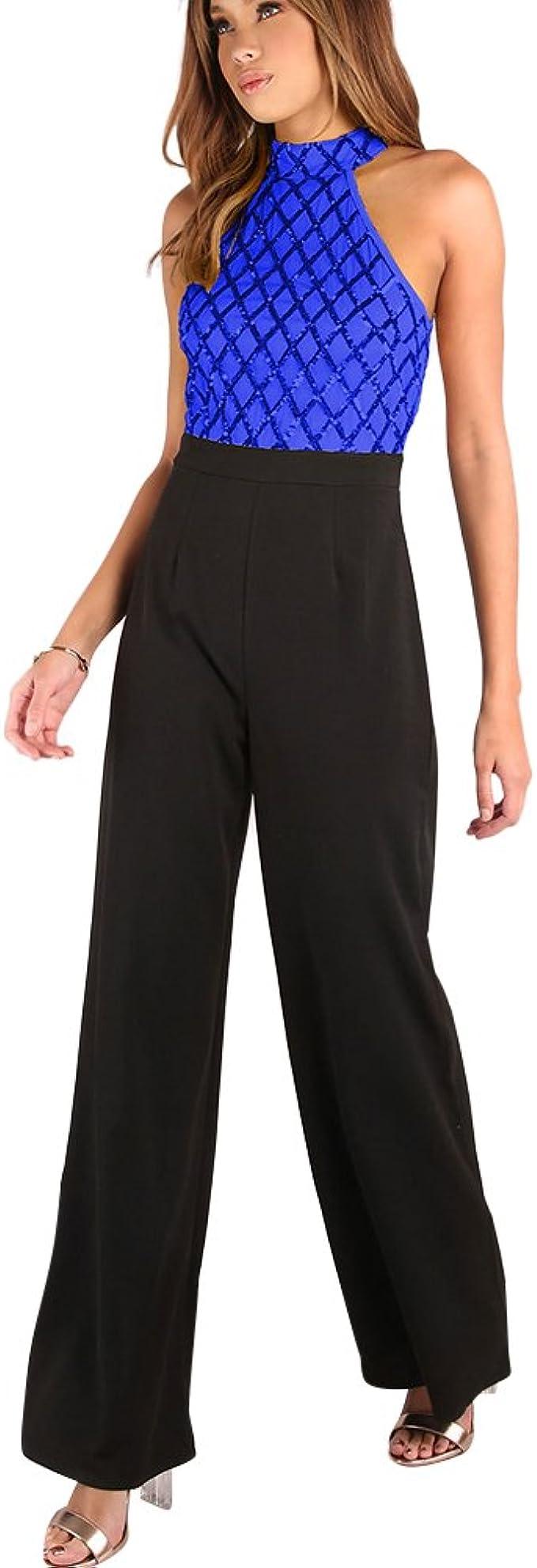 PengGeng Femme Mince /Él/égant Paillettes sans Manches Combinaison Jambe Large Jumpsuit