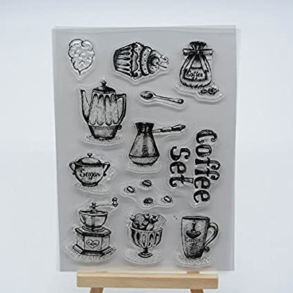 NEW COFFEE POT AND CUPS CLEAR STAMP SHEET SET for CARD MAKING /& SCRAP BOOKING