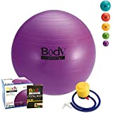 Exercise Ball With Pump - by BodySport - Strengthen Your Core for Great Abs - Tone - Yoga - Fitness - Stability - Pilates - Free Exercise Guide Included