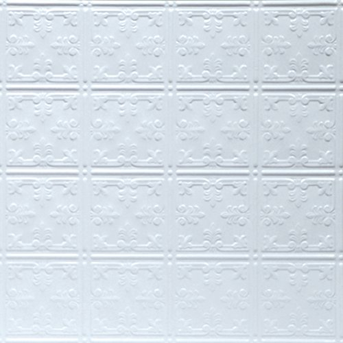 Shanko W210LIG Pattern 210 Pressed Metal Lay-in Grid Ceiling Tile, 20 sq. ft, White, 5 Piece