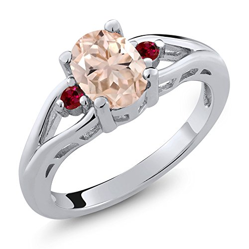 1.10 Ct Oval Peach Morganite Red Created Ruby 925 Sterling Silver 3 Stone - Peach Oval