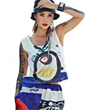 Cool Girls Trendy Womens Sport Tank Top Graffiti Striped Hip Hop Street Dance