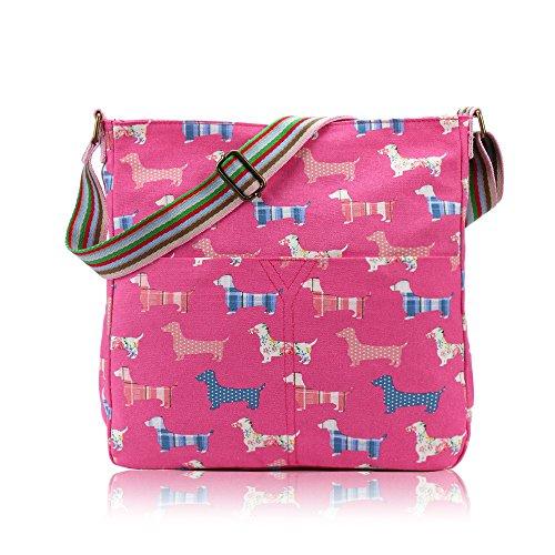 Craze London Ladies Girls Kids Dachshund Sausage Dog Print Cross Body Bag Fuschia