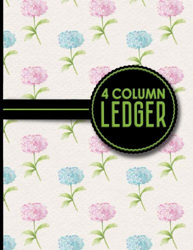 4 Column Ledger: Columnar Pad, Accounting Ledger Pad, Financial Ledger Book, Hydrangea Flower Cover, 8.5