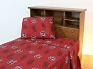 College Covers South Carolina Gamecocks Printed Sheet Set - Twin - Solid