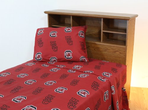(College Covers South Carolina Gamecocks Printed Sheet Set - Queen - Solid)