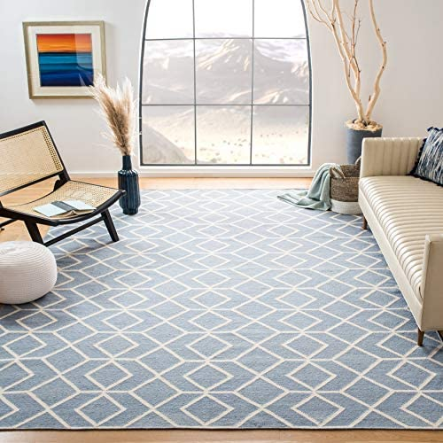 Safavieh Dhurries Collection DHU560A Hand Woven Blue and Ivory Premium Wool Area Rug 9' x 12'