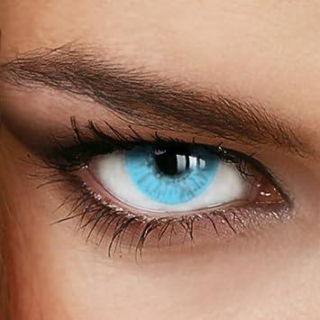 Hellblaue Jahres-Kontaktlinsen Naturally SWEET AQUA - MIT und OHNE Stärke in Light-Blue - von LUXDELUX® - ohne Stärke (+/- 0.