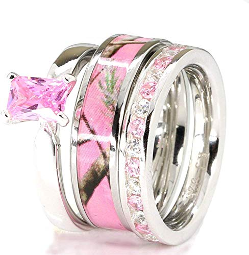 3 Pieces Pink Women`s Stanless Steel Camo and Sterling Silver Tourmaline Engagement Wedding Rings Set (10)