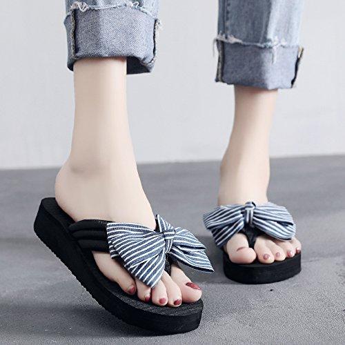 Pajarita zapatillas Breve 35 Flip 35 pendiente talón Ajunr elegante Cool Flops Blue Sandalias Moda Transpirable Antideslizante 3cm ZwFZXxqvI