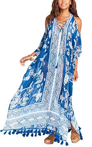 Hibluco Women's Printed Long Loose Kaftan Beach Bikini Cover up Dress/Cardigan