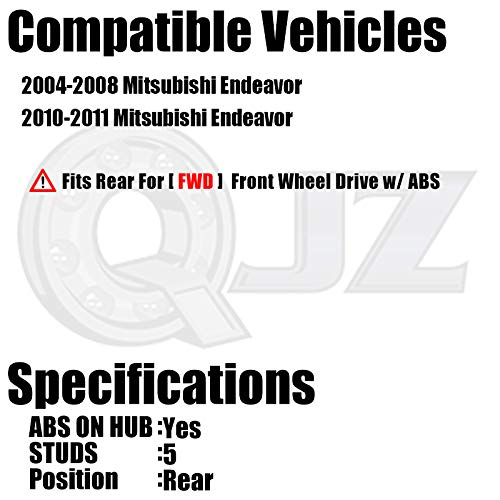 1-Pack 512289 - Rear Wheel Hub and Bearing Assembly for 2004-2011 Misubishi Endeavor FWD Models - Cross Reference: Timken HA590143, SKF BR930431 QJZ