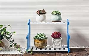 LBMhua Soporte Antiséptico de Flores de Madera Estantes de Flores de Madera - 2 Tier Herb & Plant Theater en Madera Dura Natural. Regalo Ideal de jardineros Capacidad de Carga Fuerte (Tamaño : 40cm)