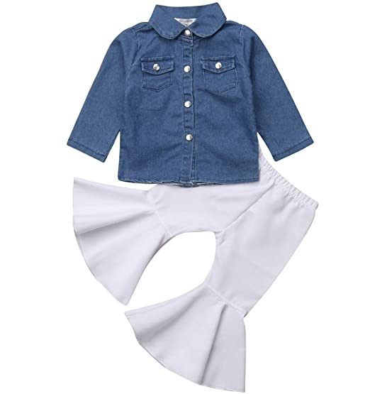078a453ea Infant Baby Long Sleeve Denim Shirt Top Button Down Blouse+High Waist Bell  Bottom Pants
