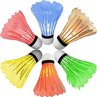 [6 Pack] Newdora Colorful LED Badminton Set Shuttlecock Dark Night Glow Birdies Lighting for Outdoor / Indoor Sports Activities Badminton Nets
