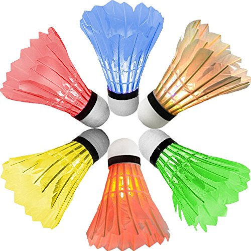 [6 Pack] Newdora Colorful LED Badminton Set Shuttlecock Dark Night Glow Birdies Lighting for Outdoor / Indoor Sports Activities Badminton Nets