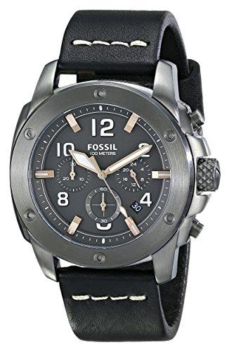 Men's  Modern Machine Chronograph Leather Watch - Black - Fossil FS5016