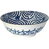 "Japanese Blue and White 7.5"" Large Noodle Bowl"