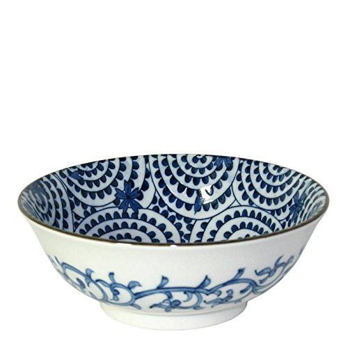 Japanese Blue and White 7.5'' Large Noodle Bowl