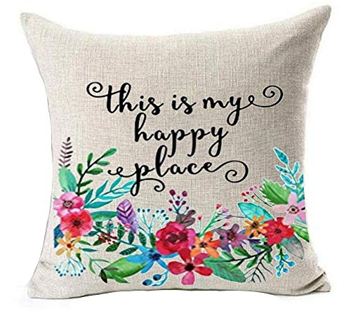 xinchuangshangmao Plant Flower Phrases This is My Happy Place Inspirational Housewarming Birthday Gift Cotton Linen Throw Pillow Covers Case Cushion Cover Sofa Decorative Square 18 x 18 inch