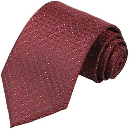 KissTies Mens Pure Color Solid Wedding Tie Check Necktie + Gift Box