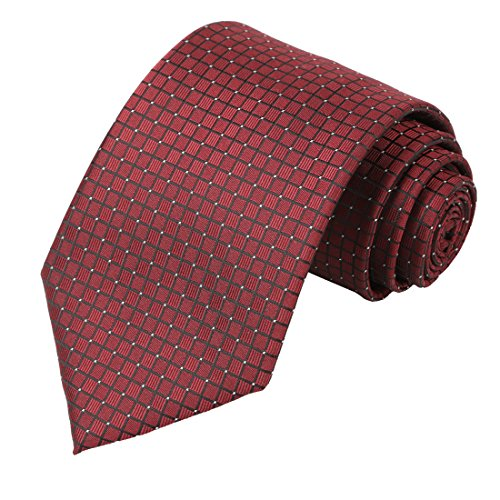 KissTies Vintage Wedding Tie Burgundy Wine Red Solid Necktie + Gift Box