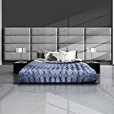GreenForest Upholstered Headboard Full/Queen Size Velvet Headboard Accent Wall Panels Pack of 4 Tiles for Bedroom, Grey
