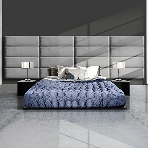 GreenForest Upholstered Headboard Full/Queen Size Velvet Headboard Accent Wall Panels Pack of 4 Tiles for Bedroom, Grey (4 Panel Full Piece)