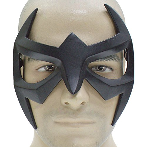 [Nightwing Mask Superhero Black Resin Eye Mask Strap Grayson Cosplay Masquerade Adult] (Nightwing Halloween Costumes)