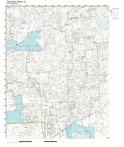Amazon.com: ZIP Code Wall Map of Downers Grove, IL ZIP Code Map