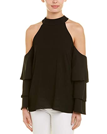 955e409a39b81 1.State Womens Mock Neck Cold Shoulder Blouse w Tiers at Amazon ...