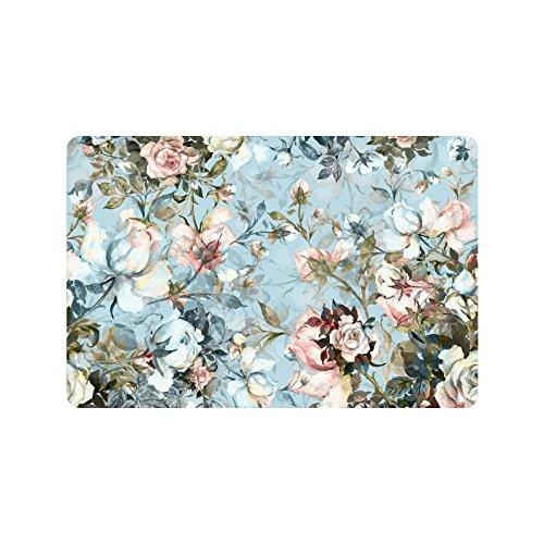 "InterestPrint Antique Rose Flowers Non Slip Indoor/Outdoor Doormat Floor Mat Home Decor, Vintage Watercolor Floral Entrance Rug Rubber Backing 23.6""(L) x 15.7""(W)"