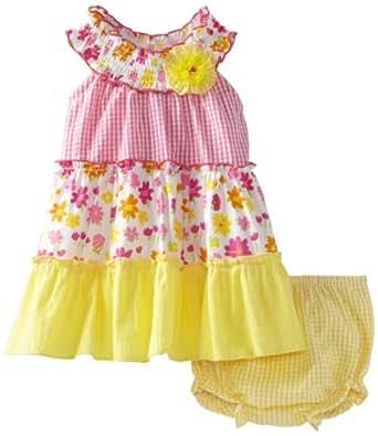 Rare Editions Baby Girls' Tiered U Neck Dress, Multi, 18 Months