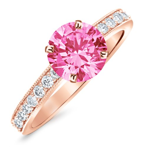 0.8 Carat 14K Yellow Gold Classic Side Stone Pave Set with Milgrain Diamond Engagement Ring with a 0.5 Carat Natural Pink Sapphire Center (Heirloom Quality) ()