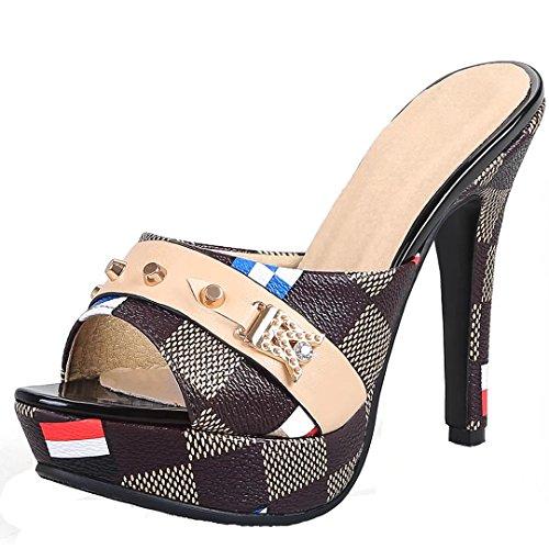 AIYOUMEI Damen High Heels Plateau Pantoletten mit Blumen Stiletto Sandalen Slipper Mules High Heels  38 EUBraun