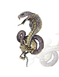 Ever Faith Vintage Style 4.7 inch Cobra Snake Brooch Austrian Crystal