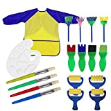 Painting Tools for Kids, 18Pcs Sponge Painting Brushes Art Supplies Set Childen Waterproof Aprons with Palette,Smock and Rollers Brush DIY Craft Drawing Tool