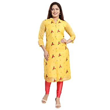 ef9988eec6603 Dream   Dzire Women s Chanderi Yellow Calf Length Kurti for All Plus Size  and Small Size