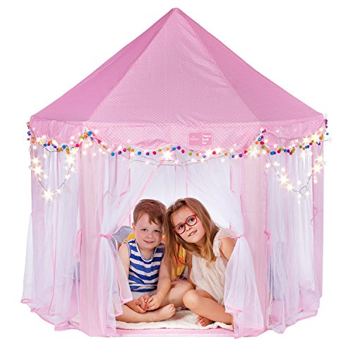 (Campela Pink Princess Tent Teepee Castle Girls Large Playhouse - Kids Dream Play Tents with Star Lights for Children Indoor and Outdoor Games 55'' x 53'' (DxH))