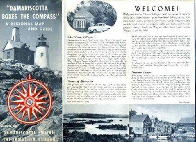 Damariscotta Maine Regional Map & Guide 1950's